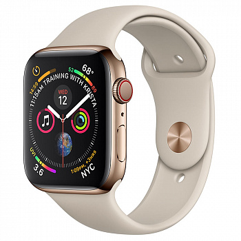 Apple Watch Series 4 GPS + Cellular 44mm Stainless Steel Case with Sport Band (Gold)