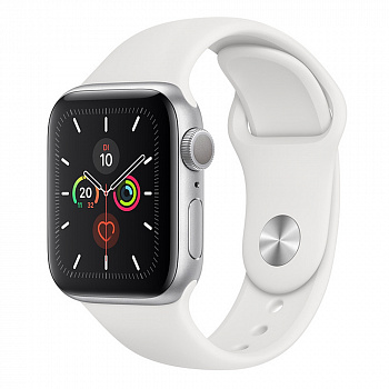 Apple Watch Series 5 GPS 44mm Aluminum Case with Sport Band (Silver)